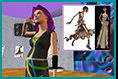 Virtual models: Original designs sketched at F.I.T (NYC) made into 3D avatars ( SFU, Vancouver) and setup in a virtual environment complete with dramatic backstory.